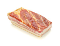 Big Part Bacon. Big part of bacon against white background royalty free stock image
