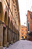 Big part of Bologna downtown is full of arches Royalty Free Stock Image