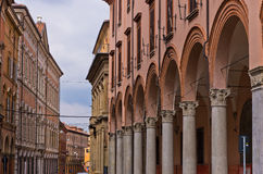 Big part of downtown is on arches, city of Bologna, Italy Stock Photography