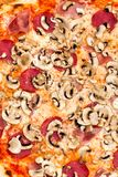 Big Party Pizza salami,mushrooms and vegetable-iso Royalty Free Stock Image