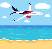 Big passenger airplane in half-profile, flying in the sky above the seashore. Travel, tourism, summer vacation background, poster. stock illustration
