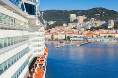 Big passenger cruise ship enters the port. Of Ajaccio, Corsica island, France. View from a captain bridge wing royalty free stock photography