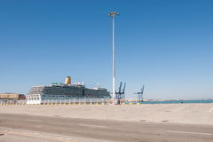 Big passenger ship in Cadiz port Royalty Free Stock Image