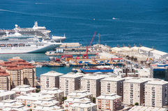 Big passenger ships in the port of Gibraltar Stock Photos