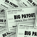 Big Payout Many Checks Rich Wealthy Money Pile. Big Payout word on many checks to illustrate a large pile of money and becoming rich or wealthy by cashing in Stock Photo