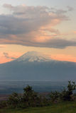 Big Peak of the mountain of Ararat in evening under the clouds Royalty Free Stock Photography