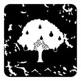 Big pear tree icon, grunge style Royalty Free Stock Photo
