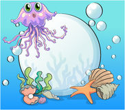 A big pearl and the violet octopus under the sea Royalty Free Stock Photo