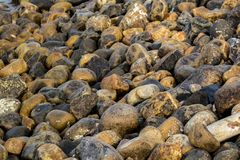 Big pebbles, rocks with smooth edges stock photos