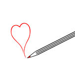 Big pencil draw a red heart Royalty Free Stock Photography