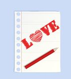 Big pencil drew a heart Royalty Free Stock Photos