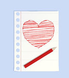 Big pencil drew a heart Royalty Free Stock Photography