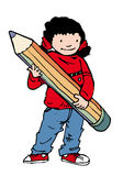 Big pencil girl. Young girl with huge pencil Stock Photo