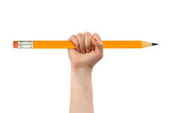 Big pencil in hand. Isolated on white background royalty free stock images