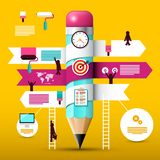 Big Pencil with Paper Infographic Elements. royalty free illustration