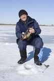 Big perch. Fisherman has caught big perch on winter fishing Royalty Free Stock Images