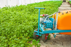 Big pesticide sprayer in greenhouse close up Stock Images