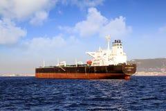 Big petrol tanker ALFA GERMANIA anchored. Petrol tanker vessel ALFA GERMANIA anchored in Algeciras Bay close to Gibraltar Rock in Cadiz royalty free stock photos