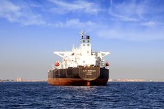 Big petrol tanker ALFA GERMANIA anchored. Petrol tanker vessel ALFA GERMANIA anchored in Algeciras Bay close to Gibraltar Rock in Cadiz stock image