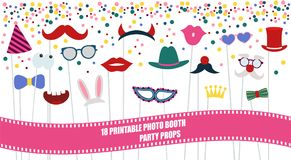 Big photo booth props set vector illustration. Big photo booth props set for birthday or party vector illustration. Printable icons for mustache, hats Royalty Free Stock Photos