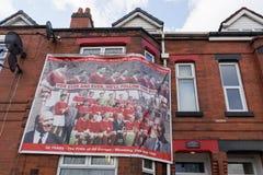 Manchester, UK Manchester United commemoration banner.