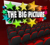 Big Picture Movie Theatre Screen Show Perspective Vision. The Big Picture 3d words coming out of a movie theatre screen to illustrate an idea, thought or concept Stock Images
