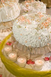 The big pie and candles. Royalty Free Stock Image