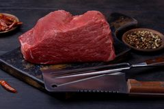 Big piece of beef meat for steak with knife and fork Stock Photography