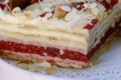 Big piece of nice raspberry cake Royalty Free Stock Images
