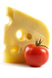 Big Piece Of Fragrant Elite Cheese And Tomatoes Stock Image