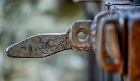 A big piece of old metal: old rusty iron lock royalty free stock photo