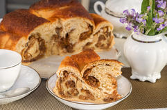 Big piece of traditional italian flavorous cake La Gubana. stock images