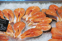 The big pieces of red fish Stock Photography