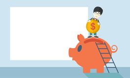 Big piggy bank with ladder Royalty Free Stock Photos