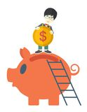 Big piggy bank with ladder Stock Photo
