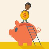Big piggy bank with ladder Royalty Free Stock Photography