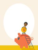 Big piggy bank with ladder Stock Images