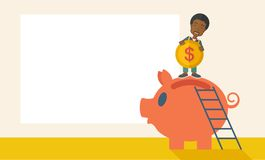 Big piggy bank with ladder Royalty Free Stock Image
