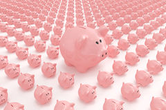 Big piggy bank standing out. High quality 3d image of a big piggy bank standing out Royalty Free Stock Images