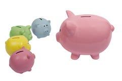 Big Piggy Talking to Little Piggies. Piggy parent discusses finances with their children Stock Photography