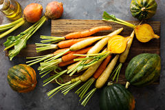 Big pile of autumn produce ready to be cooked Royalty Free Stock Photos