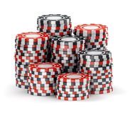 Big pile of black and red casino tokens Stock Photo