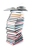 Big pile of books isolated Stock Photo