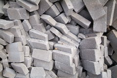 Big pile of bricks. A heap of calcium silicate bricks on a construction site stock image