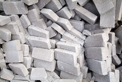 Big pile of bricks isolated. A heap of calcium silicate bricks on a construction site stock photo