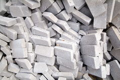 Big pile of bricks isolated. A heap of calcium silicate bricks on a construction site royalty free stock image