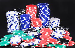 Big pile of casino chips Stock Photo