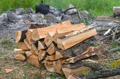 Big pile of chopped firewood preparation for campfire with friends. For outdoor at weekend against the background of fireplace, kettle and green grass; Sawn and royalty free stock photos