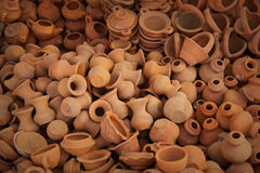 Big pile of clay pots on the market Royalty Free Stock Image