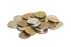 Big pile of coins isolated on white background. Russian rouble Royalty Free Stock Image